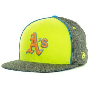 Oakland As Athletics Neon Herringbone Fitted Hat